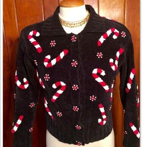 PETITE •CANDY CANE BEADED KNIT CARDIGAN